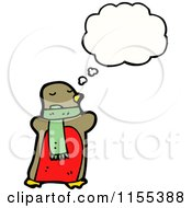 Cartoon Of A Thinking Robin Wearing A Scarf Royalty Free Vector Illustration