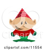 Christmas Elf In A Party Hat Clipart Illustration