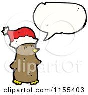 Cartoon Of A Talking Christmas Bird Royalty Free Vector Illustration