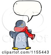 Cartoon Of A Talking Penguin Wearing A Scarf Royalty Free Vector Illustration