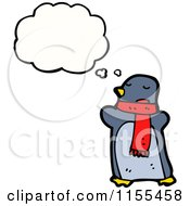 Cartoon Of A Thinking Penguin Wearing A Scarf Royalty Free Vector Illustration