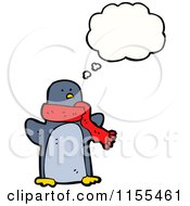 Cartoon Of A Thinking Penguin With A Scarf Royalty Free Vector Illustration