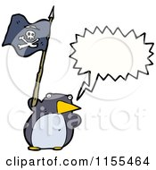 Cartoon Of A Talking Penguin With A Pirate Flag Royalty Free Vector Illustration by lineartestpilot