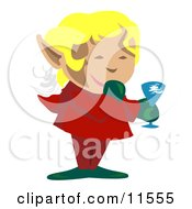 Blond Christmas Elf Giggling While Giving A Toast Clipart Illustration by AtStockIllustration