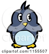 Cartoon Of A Blue Penguin Royalty Free Vector Illustration