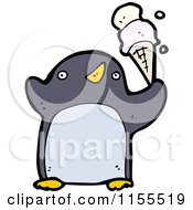 Cartoon Of A Penguin With Ice Cream Royalty Free Vector Illustration by lineartestpilot