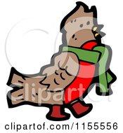 Cartoon Of A Robin Bird Wearing A Scarf Royalty Free Vector Illustration