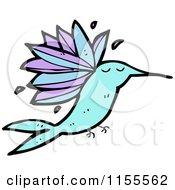 Cartoon Of A Blue Hummingbird Royalty Free Vector Illustration