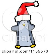 Cartoon Of A Christmas Penguin Royalty Free Vector Illustration by lineartestpilot