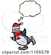 Cartoon Of A Thinking Ice Skating Christmas Penguin Royalty Free Vector Illustration