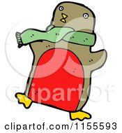 Cartoon Of A Robin Wearing A Scarf Royalty Free Vector Illustration by lineartestpilot
