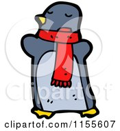 Cartoon Of A Penguin Wearing A Scarf Royalty Free Vector Illustration by lineartestpilot