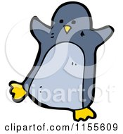 Cartoon Of A Blue Penguin Royalty Free Vector Illustration by lineartestpilot