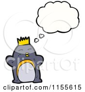 Cartoon Of A Thinking King Penguin Royalty Free Vector Illustration