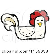 Cartoon Of A White Chicken Royalty Free Vector Illustration by lineartestpilot