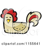 Cartoon Of A Brown Chicken Royalty Free Vector Illustration by lineartestpilot