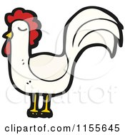 Cartoon Of A White Chicken Royalty Free Vector Illustration