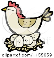 Cartoon Of A Brown Chicken On A Nest Royalty Free Vector Illustration by lineartestpilot