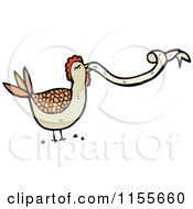 Cartoon Of A Brown Chicken With A Ribbon Royalty Free Vector Illustration