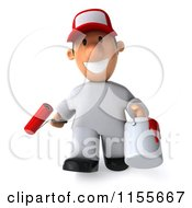 Clipart Of A 3d Painter Worker Carrying A Roller Brush And Can Royalty Free CGI Illustration by Julos