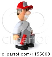 Clipart Of A 3d Painter Worker Holding A Roller Brush And Can And Facing Right Royalty Free CGI Illustration by Julos