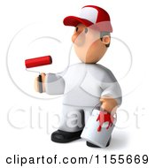 Clipart Of A 3d Painter Worker With A Roller Brush And Can Royalty Free CGI Illustration by Julos