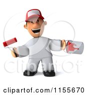 Clipart Of A 3d Happy Painter Worker With A Roller Brush And Can Royalty Free CGI Illustration by Julos