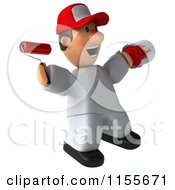 Clipart Of A 3d Jumping Painter Worker With A Roller Brush And Can Royalty Free CGI Illustration by Julos
