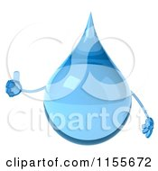 Clipart Of A 3d Water Droplet Holding A Thumb Up 1 Royalty Free CGI Illustration