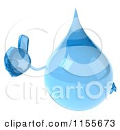 Clipart Of A 3d Water Droplet Holding A Thumb Up 1 Royalty Free CGI Illustration by Julos