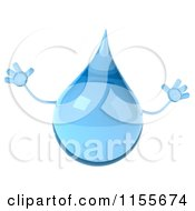 Clipart Of A 3d Water Droplet Jumping Royalty Free CGI Illustration
