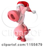 Clipart Of A 3d Christmas Pig Facing Left 2 Royalty Free CGI Illustration