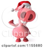 Clipart Of A 3d Christmas Pig Waving Royalty Free CGI Illustration