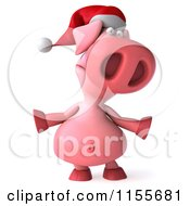 Clipart Of A 3d Christmas Pig Shrugging Royalty Free CGI Illustration
