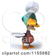 Clipart Of A 3d Chef Mallard Duck Holding A Plate Royalty Free CGI Illustration