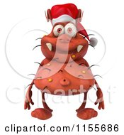 Clipart Of A 3d Christmas Germ Royalty Free CGI Illustration