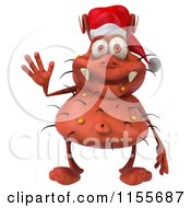 Clipart Of A 3d Christmas Germ Waving Royalty Free CGI Illustration