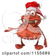 Clipart Of A 3d Christmas Germ Presenting Royalty Free CGI Illustration