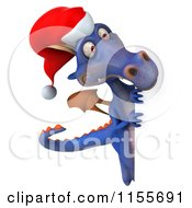 Clipart Of A 3d Purple Christmas Dragon Holding A Sign 5 Royalty Free CGI Illustration