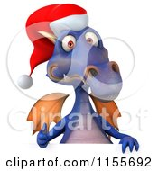Clipart Of A 3d Purple Christmas Dragon Holding A Sign 3 Royalty Free CGI Illustration