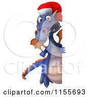 Clipart Of A 3d Purple Christmas Dragon Holding A Sign 4 Royalty Free CGI Illustration