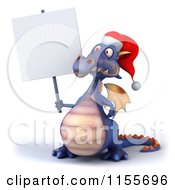 Clipart Of A 3d Purple Christmas Dragon Holding A Sign 2 Royalty Free CGI Illustration