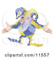 Old Joker Or Jester Man With His Arms Out Clipart Illustration