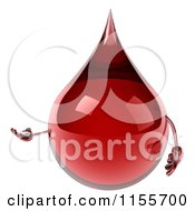 Clipart Of A 3d Blood Drop Mascot Presenting Royalty Free CGI Illustration