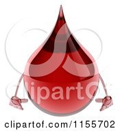 Clipart Of A 3d Blood Drop Mascot Pouting Royalty Free CGI Illustration