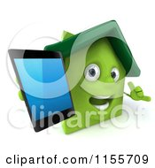 Clipart Of A 3d Green Home Mascot Holding A Cell Phone And Gesturing To Call Royalty Free CGI Illustration