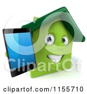 3d Green Home Mascot Holding A Cell Phone 2