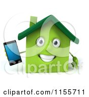 3d Green Home Mascot Holding A Cell Phone