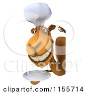 Clipart Of A 3d Camel Chef Smiling And Holding A Plate By A Sign Royalty Free CGI Illustration
