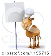 Clipart Of A 3d Camel Chef Smiling Near A Sign Royalty Free CGI Illustration